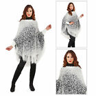 Pistachio Womens Feather Yarn Poncho Ladies Blanket Cape Knitted Tassel Shawl