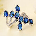 New 925 Sterling Silver Sapphire Crystal Ring Women Fashion Wedding Jewelry