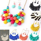 Fashion womens charm Bib Chunky Statement Acrylic Beads Necklace&Earrings Set