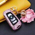 Jewel Diamond Leather Ring Aluminium Alloy Key AUTO Cover Case Shell Fob For BMW