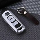 Genuine Leather+Aluminium Alloy Key AUTO Car Cover Case Shell Fob Fit For Mazda