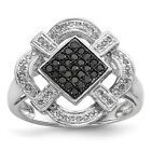 Sterling Silver Rhodium-plated Black & White Diamond Ring (13mmx13mm)