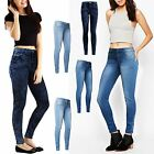 WOMENS LADIES FADDED JEANS DENIM WASH SKINNY SLIM FIT TROUSERS STRETCHY PANTS