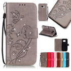 Butterfly Floral Pattern Diamond Flip Leather Card Wallet Stand Case For Samsung