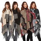 Boutique Women Aztec Or Nordic Print Cape With Attached Scarf Ladies Poncho Wrap
