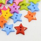100pcs Acrylic Sewing Buttons 2-Hole Star Mixed Color Costume Sewing Fastening