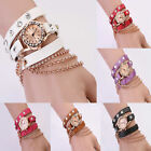Fashion Girl Women Synthetic Leather Crystal Bracelet Chain Quartz Wrist Watch