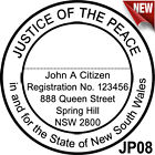 JP08 JUSTICE OF THE PEACE NSW Custom Flash Stamp Pre & Self Inking Refillable
