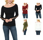 Ribbed Boat Neck Long Sleeve With Ladder Strap Detail Top S ~ L