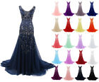 Beaded Mermaid Evening Gowns Bridal Dresses Formal Prom Ball Party Pageant Dress