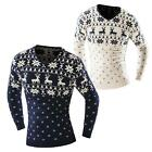 Hot Merry Christmas Men Xmas Long Sleeve Sweater Reindeer Snowflake Pullover
