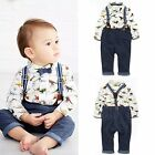 2pcs Newborn Toddler Infant Baby Boy Shirt+Bib Pants Overalls Outfit Clothes Set