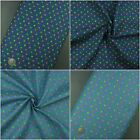 3.8oz 100% Cotton Pure Denim Fabric, Multi Coloured Polka Dot Print Blue Navy