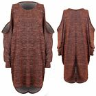 Womens Batwing Cold Shoulder Glitter Lurex Draped Dipped High Low Hem Tunic