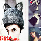 Women Winter Beanie Hat Wool Knitted CRYSTAL Ladies Fashion Large Cat Ears