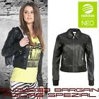 Women Bomber Leather Biker Jacket Motorcycle Zipper Top Casual Adidas NEO 2XS XS