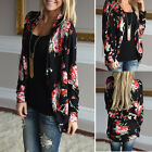 Fashion Floral Bomber Jacket Womens Top Long Sleeve Ladies Jumpers Cardigan Coat