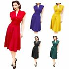 New Elegant Womens Lady V Neck Evening Party Swing Flared Pleated Dress