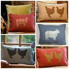 Modern Country Scatter Cushion 100% Wool & Feather Chicken Sheep Blue Red Cream