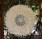 Boho Tribal Round Crotchet Shell & Feather & wall feature art.