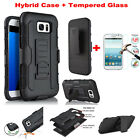 Impact Heavy Duty Hybrid Case Belt Clip Stand + Tempered Glass Film For Samsung