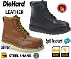 "6"" Steel Toe & Shank Leather Work Boots Slip & Puncture r..."