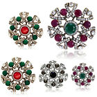 Women Flower Gold Plated Pin Green Crystal Rhinestone Wedding Brooches Corsage