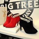 Suede Pointed Toe Zip Stilettos High Heels Women Shoes V Neck Pearls Ankle Boots