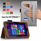 For HP Stream 7 Tablet 7-inch Folio PU Leather Case Cover Stand w/ Hand Strap