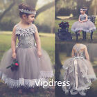 Gray Flower Girl's Pageant Dresses Formal Ball Gown Princess Party Prom Birthday