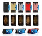 For Alcatel Fierce 4 Hard Case w/ Card Slot & Tempered Glass Screen Protector