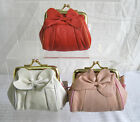SMALL CORAL / LIGHT PINK OR OFF WHITE BOW COIN PURSE WITH GOLD CLASP 72215
