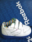 Reebok J18506 Infants Leather White & Blue Rip Tape Strap Trainers (R34A)(Kett)