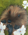 hedgehog painting fine art giclee print by artist Lizzie Hall