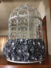 Handmade Black  White Fabric Bird Cage Skirt Seed Catcher Guard or Cover XS-XXL