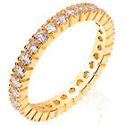 Sterling Silver CZ 14k .925 Gold Plated Eternity Wedding Band Ring Size 5-9