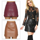 Women Sexy PU Leather Pencil Bodycon High Waist Mini Dress Solid Color