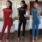 Women Party Playsuit Ladies Choker High Neck Caged Sleeve Jumpsuit Rompers Dress