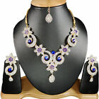 Indian Bollywood Fashionable Party Wear Gold Toned Earrings Necklaces Set