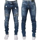 New Enzo Mens Super Skinny Fit Ripped Jeans Stretch Biker Distressed Denim Pants