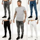 Mens ENZO Super Skinny Ripped Biker Denim Jeans Blue Black White Summer Fashion