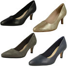 Ladies Clarks Isidora Faye Smart Leather Mid Heel Court Shoes