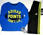 ADIDAS Boy's New Long Sleeve Shirt & Pants Outfit Set size 2T NWT