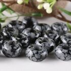 Black&Grey Snowflake Obsidian Jasper Gemstone Loose Beads Fit EP Charms Bracelet