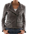 Women Fashion Brown Leather Jacket With Side Belts Sz XS-3XL