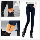 Women Winter Thick Thermal Warm Fleece Nap High Waist Jeans Trousers Pants