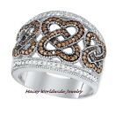10K WHITE GOLD BRANDY DIAMOND™ CHOCOLATE BROWN BEAUTIFUL JOINED HEARTS RING