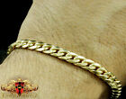 10k Real  Yellow Gold Mens Womens Solid Cuban Curb Link Bracelet Chain5mm 7 Inch