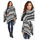 Boutique Womens Cowl Neck Poncho Ladies Patterned Shawl New Blanket Wrap Cape