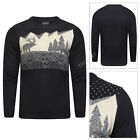 Adults Festive Novelty Christmas Jumper Wood Cabin Snowy Crew Neck Pullover